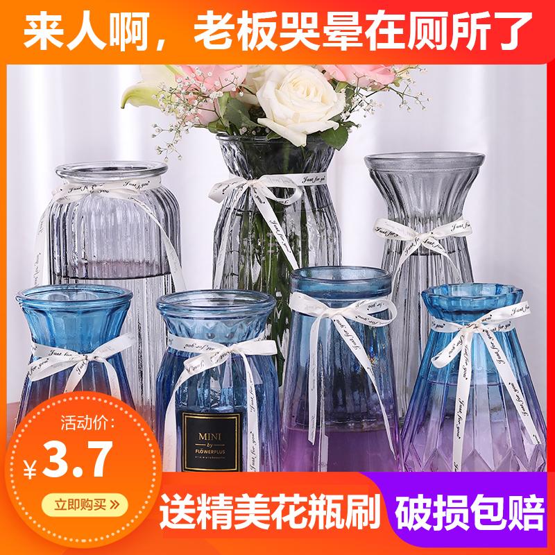 透明玻璃花瓶北欧客厅插花干花摆件现代简约大小花器清新装饰花盆