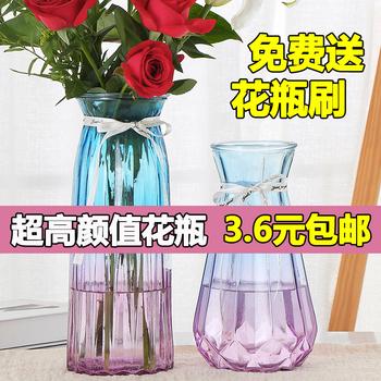 透明北欧客厅干花摆件清新玻璃花瓶