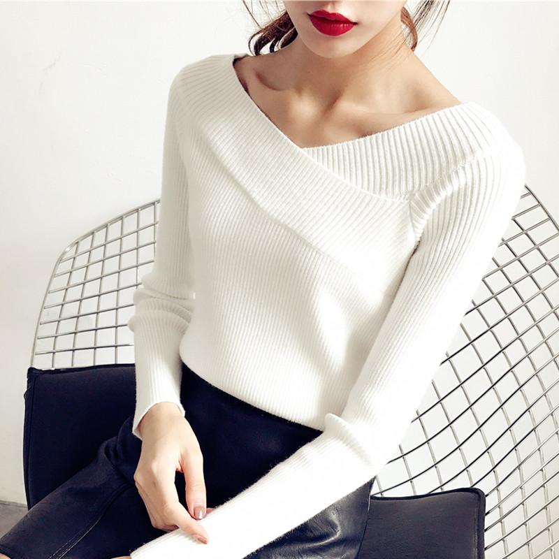 春秋新款V领针织衫短款白色套头低领毛衣女紧身修身百搭打底衫女