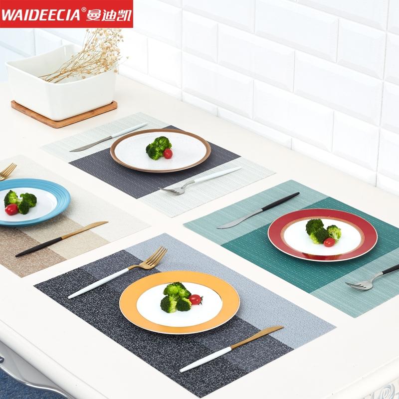 曼迪凯西餐餐垫欧式隔热防烫防油污长方形编织pvc餐桌垫杯垫盘垫