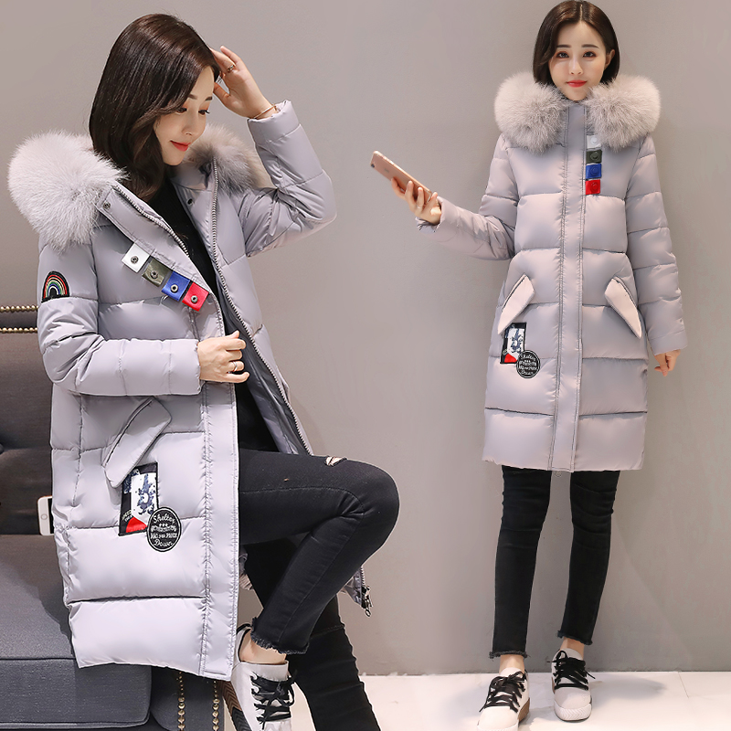 实拍2017冬季新款时尚韩版修身大码女装羽绒服棉服中长款外套8806