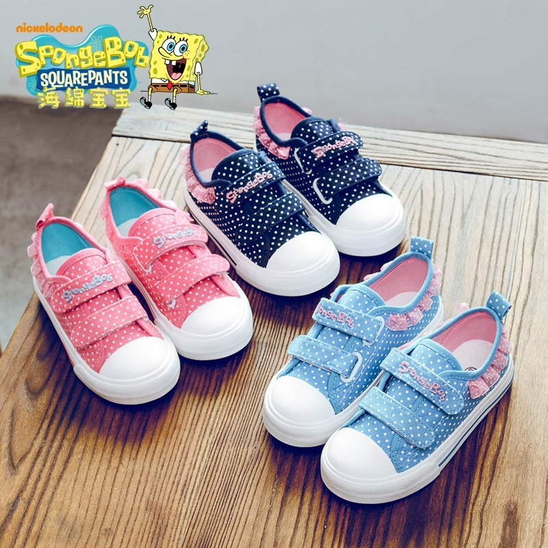海绵宝宝儿童帆布鞋女童鞋宝宝布鞋女童鞋子2018新款透气板鞋