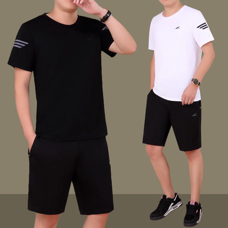 夏季休闲运动套装男短袖短裤两件套夏天圆领爸爸大码男士运动服薄
