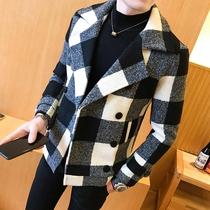 男士呢料外套秋冬新款韩版格子英伦风呢子大衣短款双排扣加棉风衣