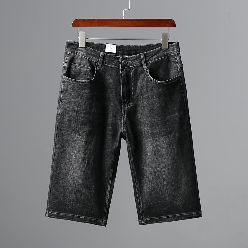 线下499!挺括有型!直筒宽松男弹力时尚休闲牛仔短裤五分裤夏季