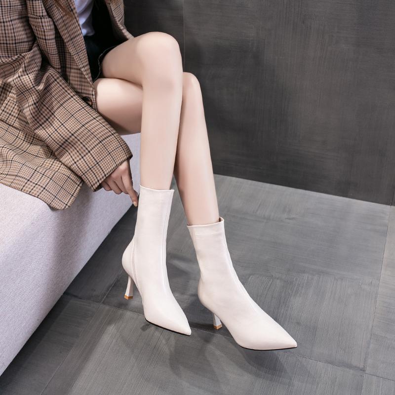 钎金鸟米白色中筒靴女2020年秋冬新款细跟女士靴子百搭尖头瘦瘦靴