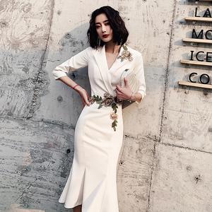 鱼尾晚礼服女名媛宴会气质轻奢小众高端设计感洋装连衣裙平时可穿