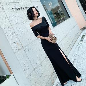 缎面晚礼服夏季平时可穿宴会气质裙