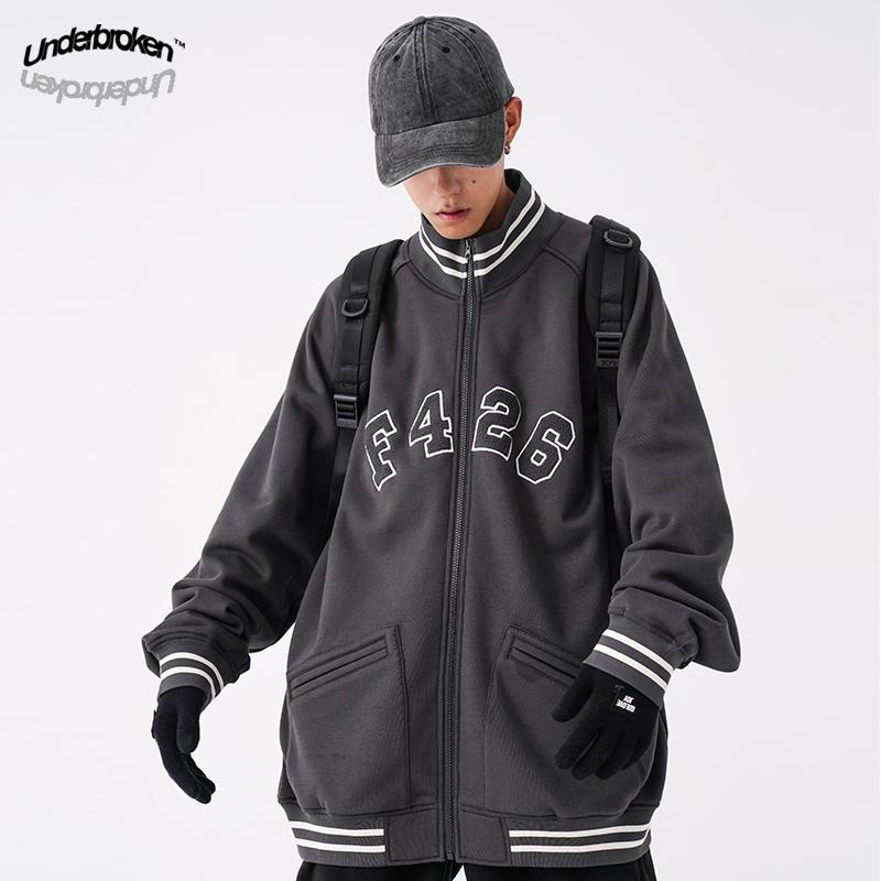 Underbroken F426国潮情侣嘻哈复古贴布logo街头男女宽松开衫外套