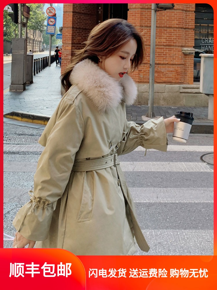 Small down jacket female middle-length version of the waist thin 2020 new mid-繫 with dwarfs to overcome the coat winter