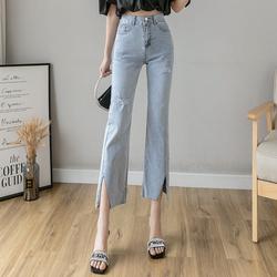 2020年春秋装新款潮牛仔裤子女夏季高腰显瘦破洞直筒九分裤小个子