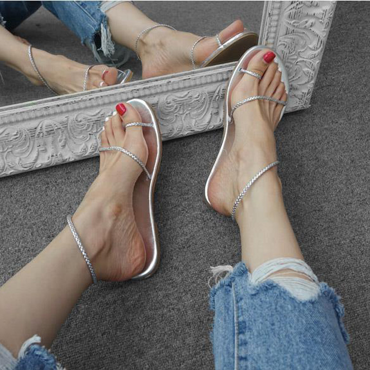 Summer 2020 new beach shoes flat sandals non slip female Silver Roman Pullover student holiday flat HEELS SANDALS