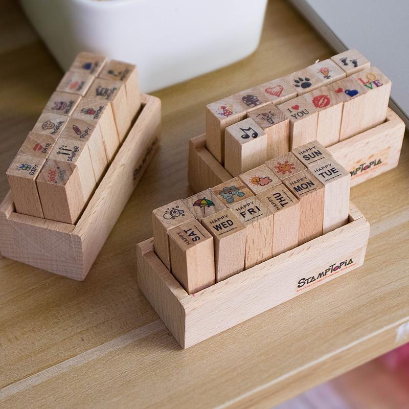 韩国文具卡通手帐木质儿童日本和风可爱小清新图章日记盒装印章套