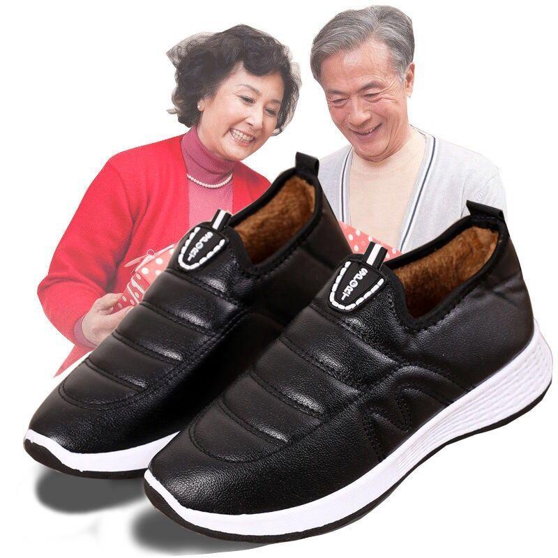 老北京棉鞋女冬季加绒一脚蹬防滑妈妈鞋加厚防水保暖中老年棉靴女