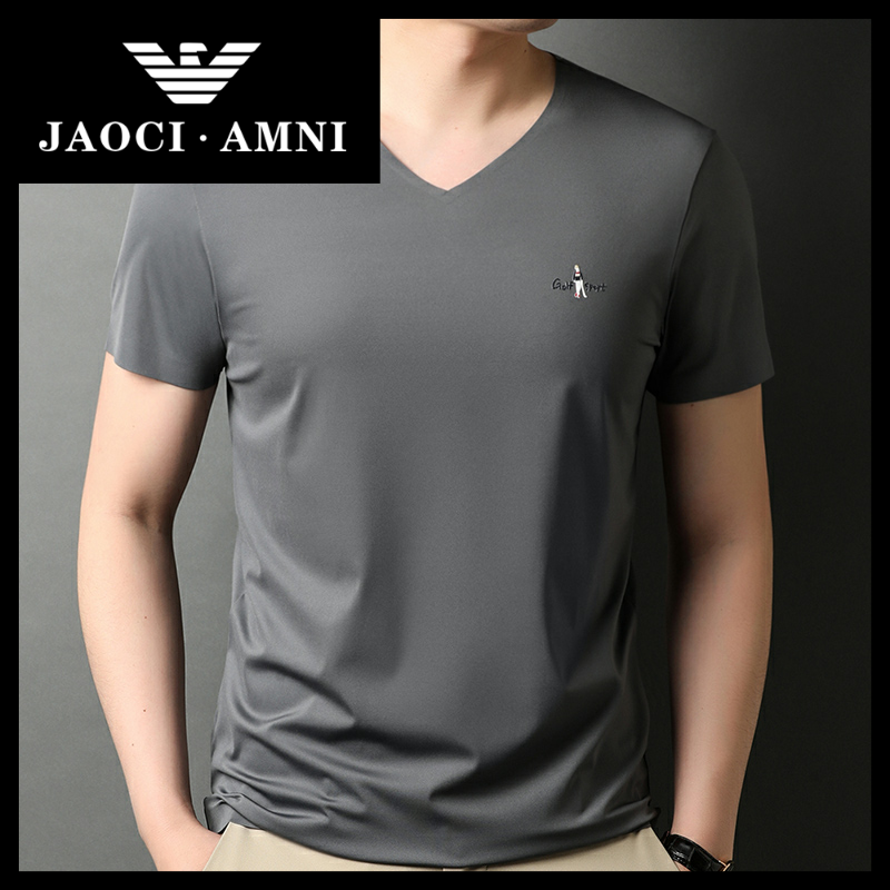 Qiaozhi Armani companys authentic ice silk short sleeve t-shirt mens trend chicken heart V-neck half sleeve middle-aged mens clothing