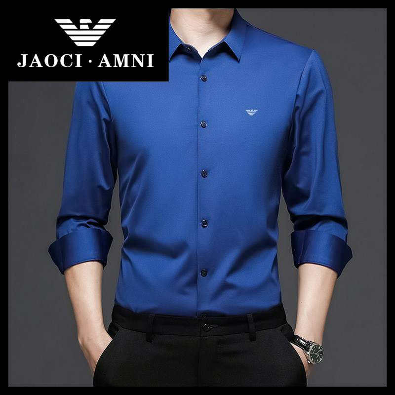 Qiaozhi Armani companys authentic brand ice silk shirt mens long sleeve solid color spring and summer high end ice feeling thin inch