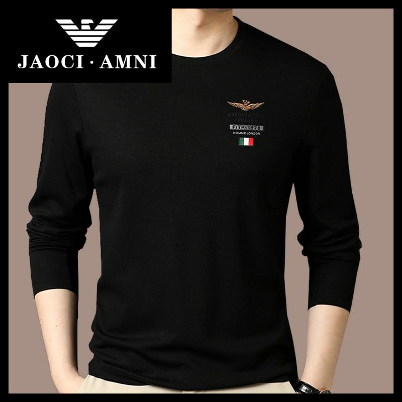 Qiaozhi Armani companys authentic new t-shirt mens long sleeve spring and autumn mercerized cotton V-neck T-shirt
