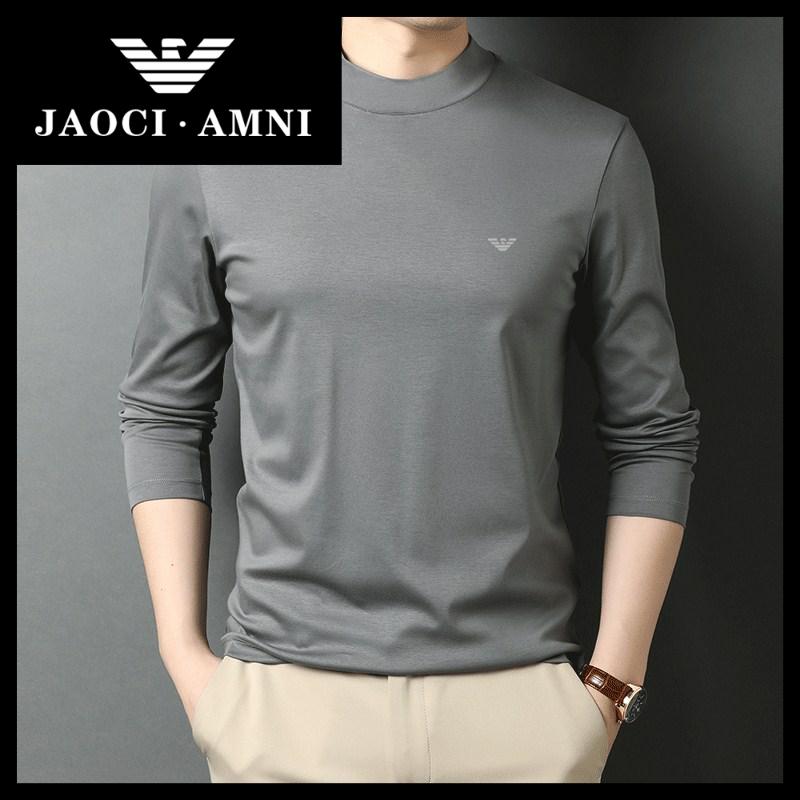 Qiaozhi Armani company genuine mercerized cotton long sleeve t-shirt mens 100% cotton half high collar t-shirt mens spring wear