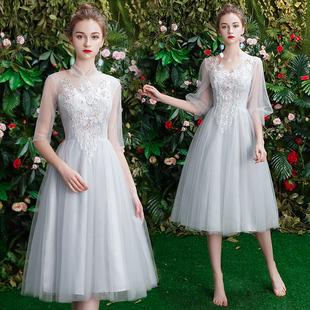 伴娘服2019新款中长款夏季灰色姐妹裙婚礼伴娘团闺蜜派对小礼服女