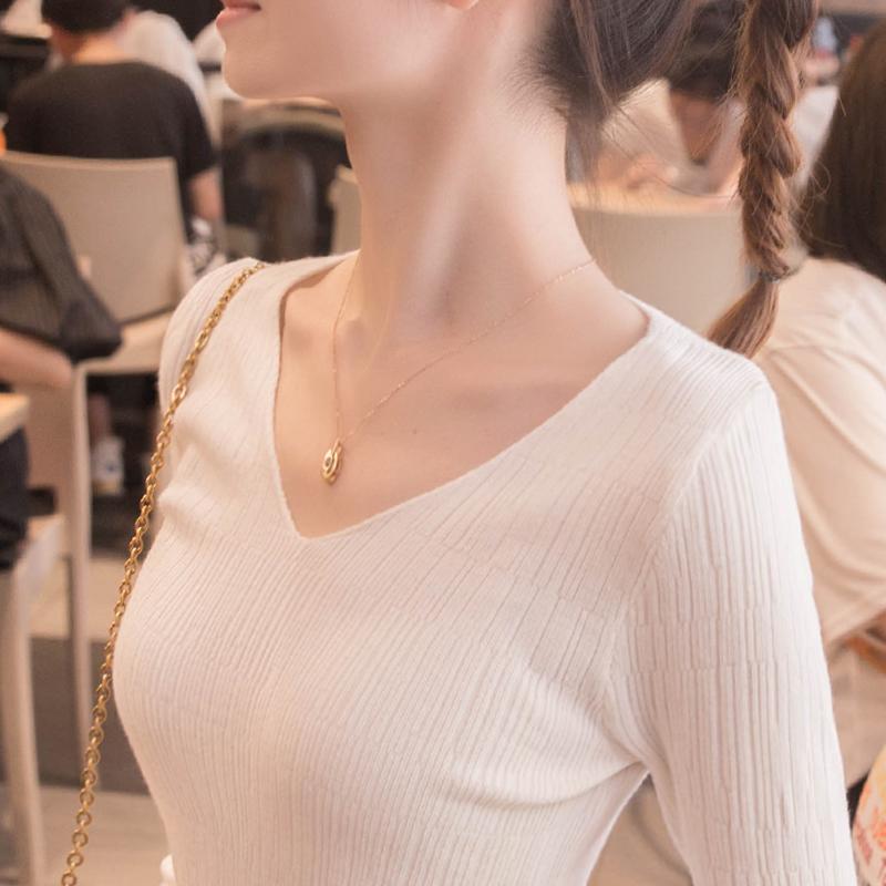 打底衫2021年春季新款爆款白色V领针织衫女内搭洋气上衣2020毛衣
