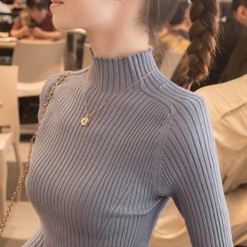 高领毛衣女打底衫2021年春秋季新款洋气中领内搭2020爆款针织衫