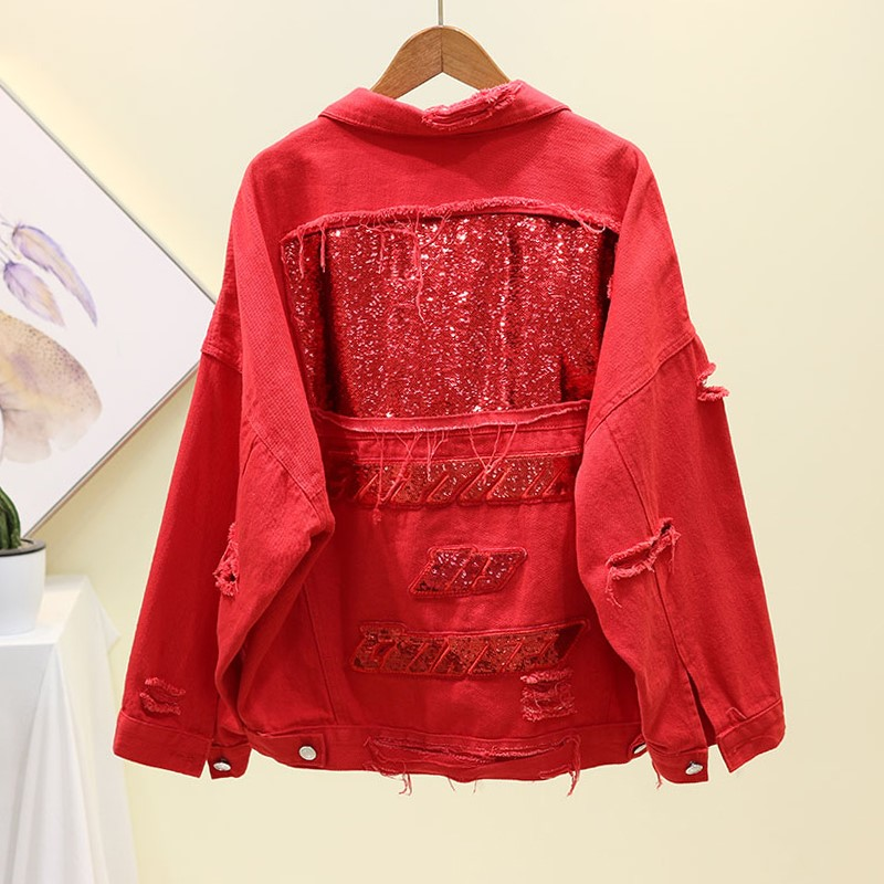 New Sequin mesh red denim jacket jacket jacket for women in spring and autumn of 2019