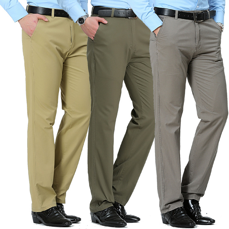 Summer thin middle-aged and elderly mens casual pants loose high waist pure cotton dads straight tube mens trousers long pants