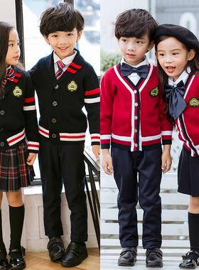 幼儿园园服英伦学院风校服毛衣开衫三件套春秋冬季新款小学生班服