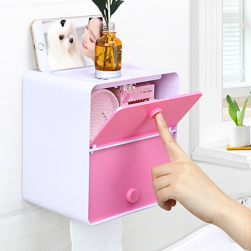 纸巾盒卫生间厕所手纸盒免打孔卷纸筒抽纸厕纸盒防水卫生纸置物架