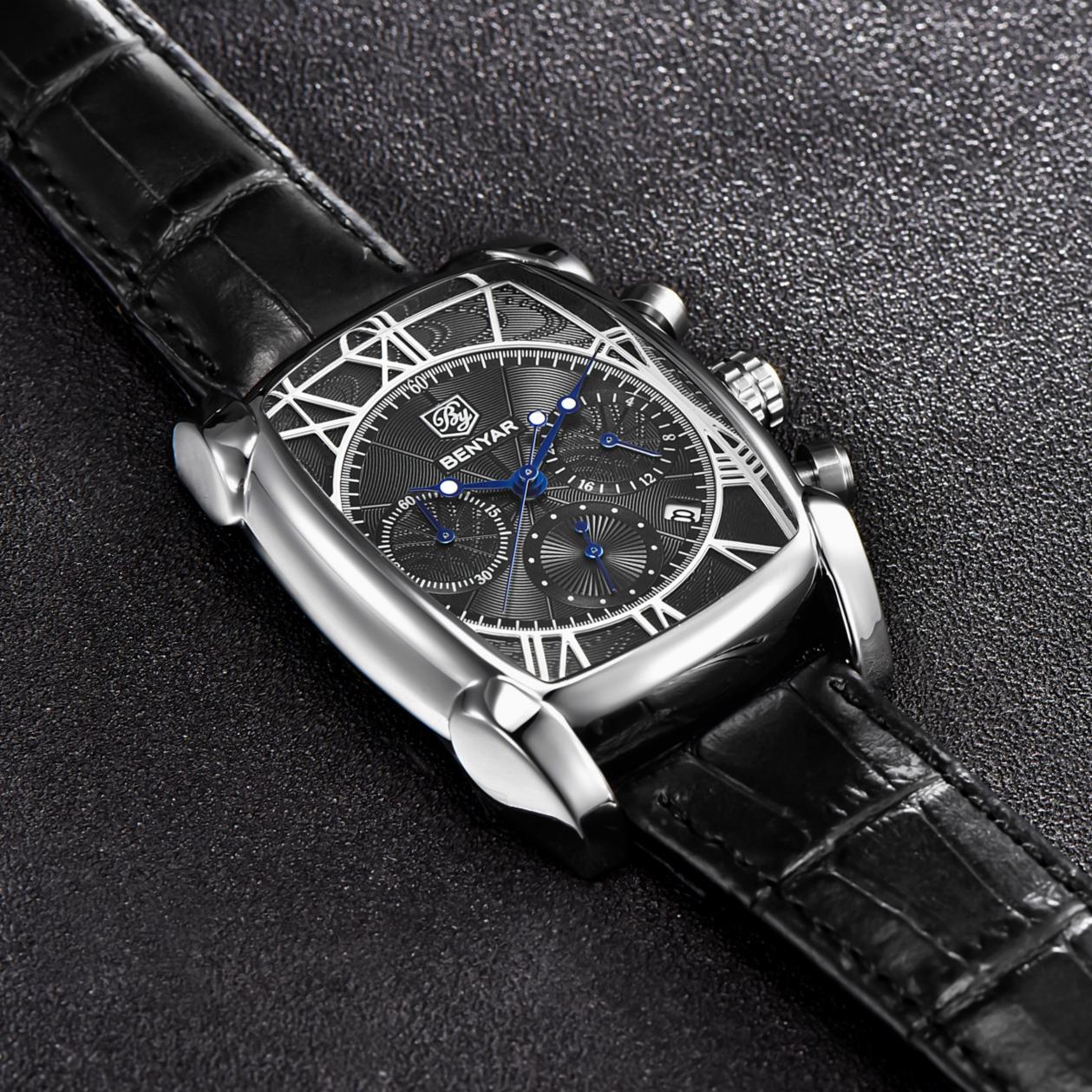 新品皮带个性男表简约韩版大表盘时尚潮流方形防水学生男士手表