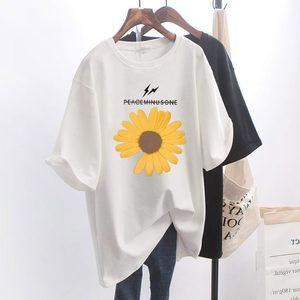 网红超火ins小雏菊短袖t恤女夏装2020新款白色宽松大码半袖上衣潮