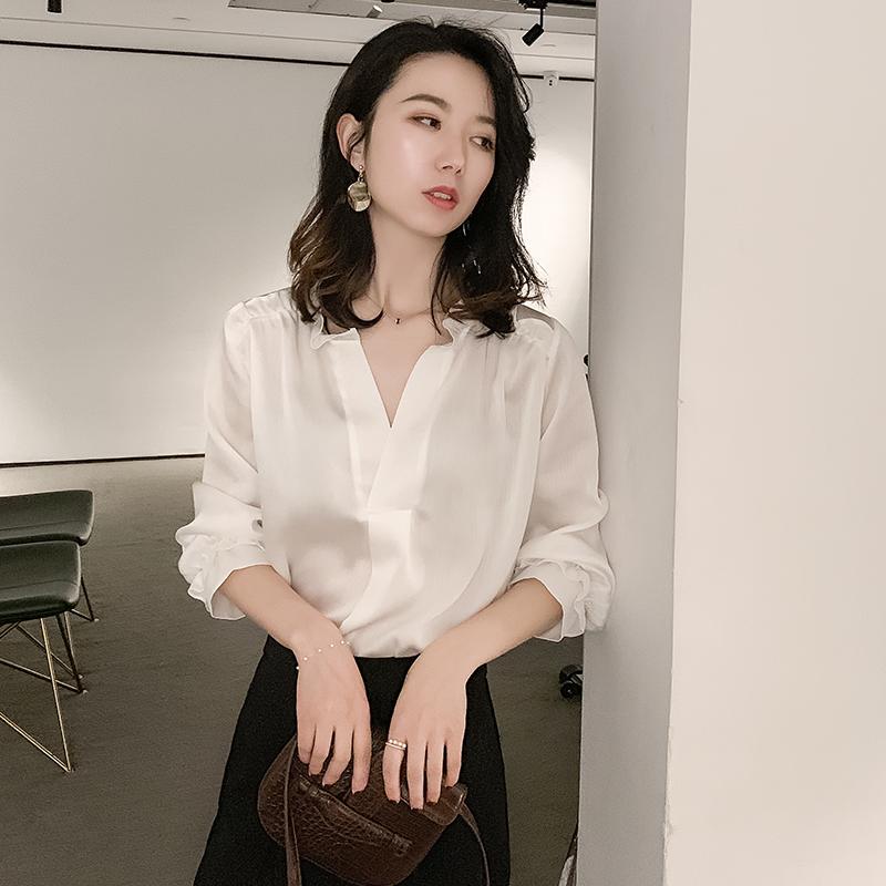 女2019初秋轻熟长袖百搭超仙衬衫11月12日最新优惠