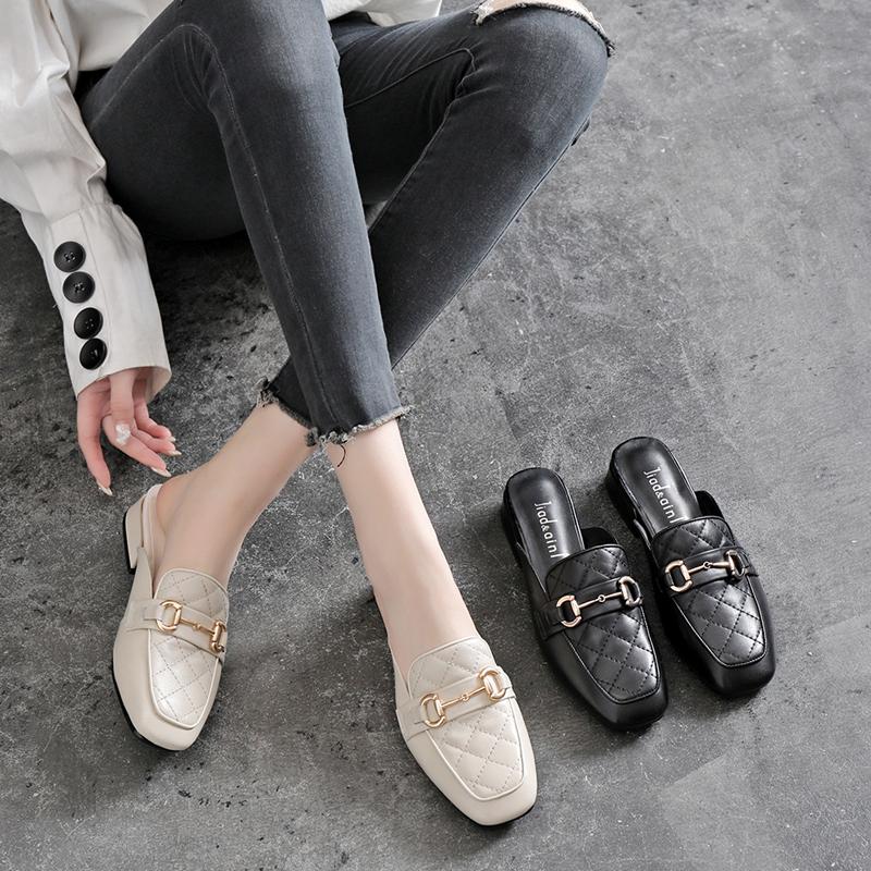 包头半拖鞋女夏外穿2021年新款平底时尚凉拖鞋粗跟中跟真皮穆勒鞋