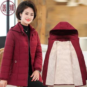 新款妈妈冬装棉衣中老年人女装棉袄加绒加厚外套50岁中年洋气棉服