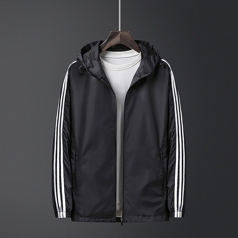 New ADI same sports coat mens jacket hooded spring and autumn large thin running windproof top three bars