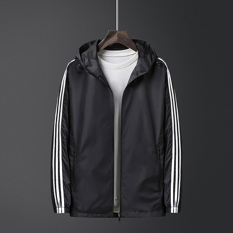 New ADI sports jacket mens jacket hooded spring and autumn large thin running windbreak top three bars