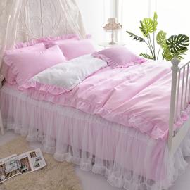 韩式全棉公主风床裙床罩式蕾丝四件套 1.5/1.8m纯棉磨毛床上用品
