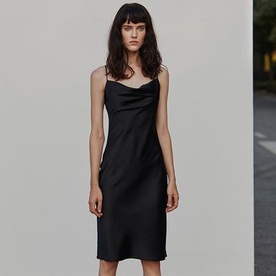 simple retro法式黑色吊带裙夏修身性感一字肩内搭chic小礼服裙女