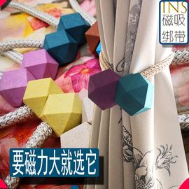 新款小麦秸秆窗帘磁铁扣绑欧式现代百搭绑绳系带窗帘扣夹子一对装图片