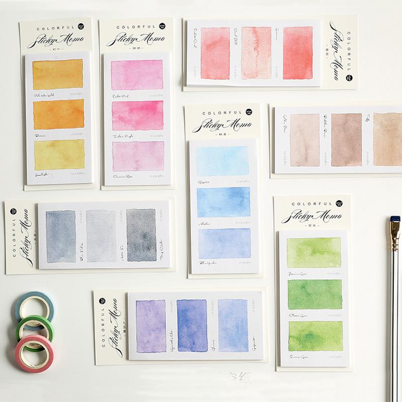 买三送一Infeel.me100种色彩水彩图鉴便利贴N次贴 手帐拼贴装饰素材便签纸
