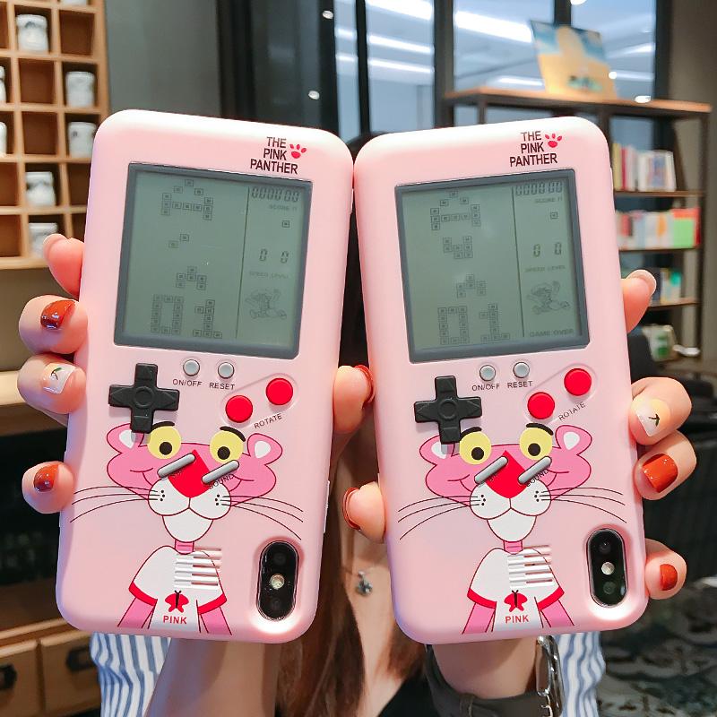 卡通粉红豹苹果11Pro游戏机Max手机壳8plus/XsMax可爱8plus顽皮豹7p/6s可以玩的俄罗斯方块Xr/Xs全包情侣男女