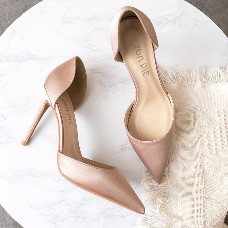 Fashionable silk satin hollow pointed thin heel small fresh French nude high heel girl Orsay single shoes champagne
