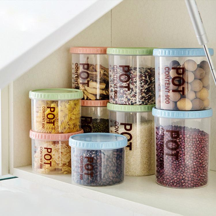 Кухня прозрачный пластик печать бак еда разное зерна хранение бак фрукты сохранение бак сухой фрукты в коробку печать коробка