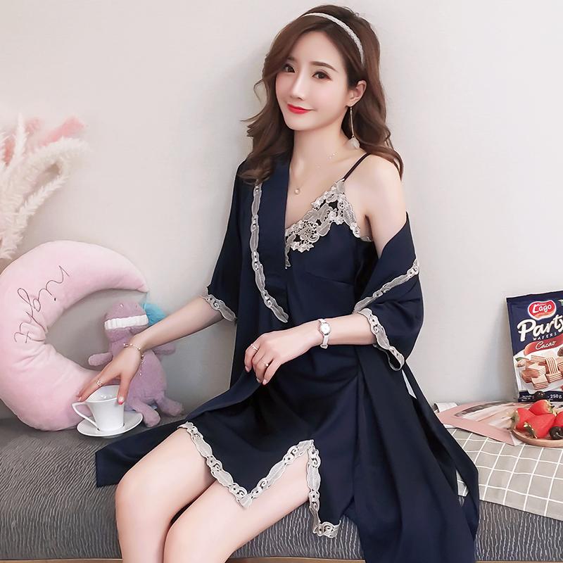 睡裙女夏季短袖丝绸丝质薄款冰丝吊带睡裙睡袍两件套女人蕾丝睡衣券后68.00元