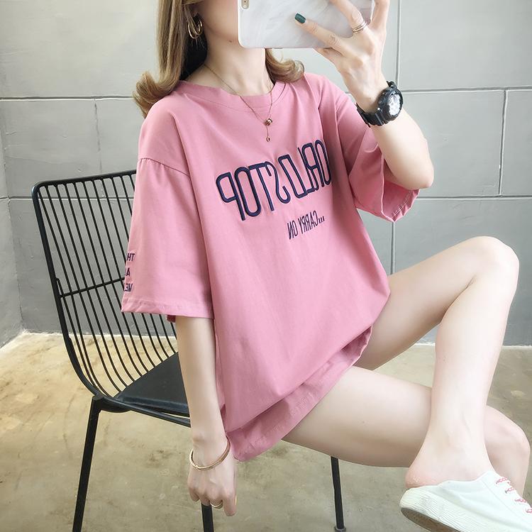 纯棉夏季短袖t恤女2020流行女装新款春款胖mm大码200斤遮肚减龄潮