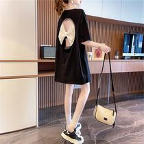 大码女装短袖t恤女设计感露背夏装2021年新款蝴蝶结韩版宽松上衣
