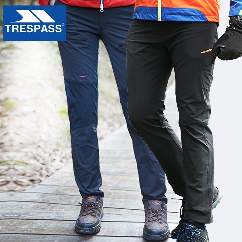 TRESPASS/趣越户外休闲男女冲锋裤春夏新款徒步弹力快干长裤拼接