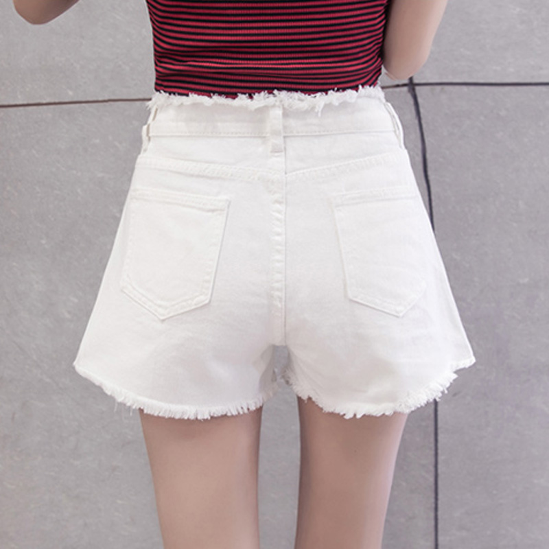 Denim shorts womens summer loose 2020 new slim pants thin high waist versatile white holed wide leg hot pants