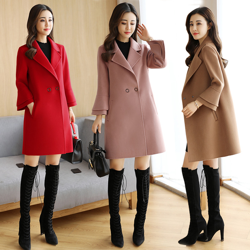 Double sided cashmere coat womens 2020 new China Changchun clothing Korean version shows thin horn sleeve fashion loose coat trend