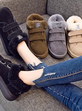雪地靴女2017冬季新款韩版百搭长绒毛魔术贴棉鞋加厚平底保暖女鞋